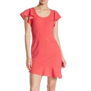 Vanity Room Coral Flutter Sleeve Crepe Dress
